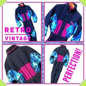 Retro Vintage Ski Suit Snowsuit Skisuit Colorblock
